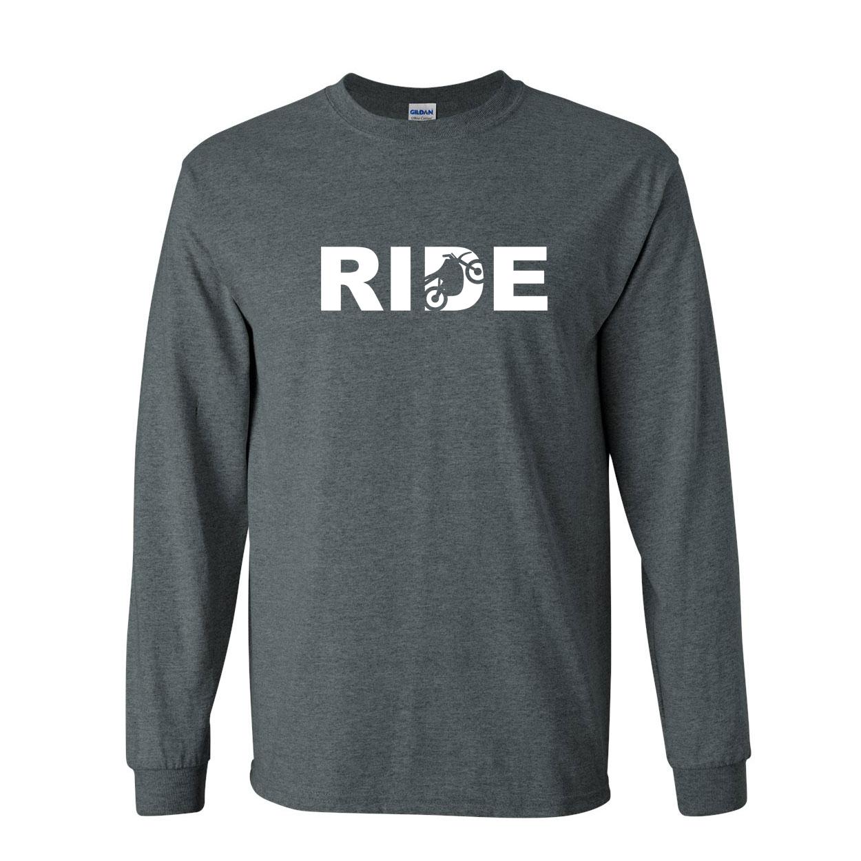 Ride Moto Logo Classic Long Sleeve T-Shirt Dark Heather (White Logo)