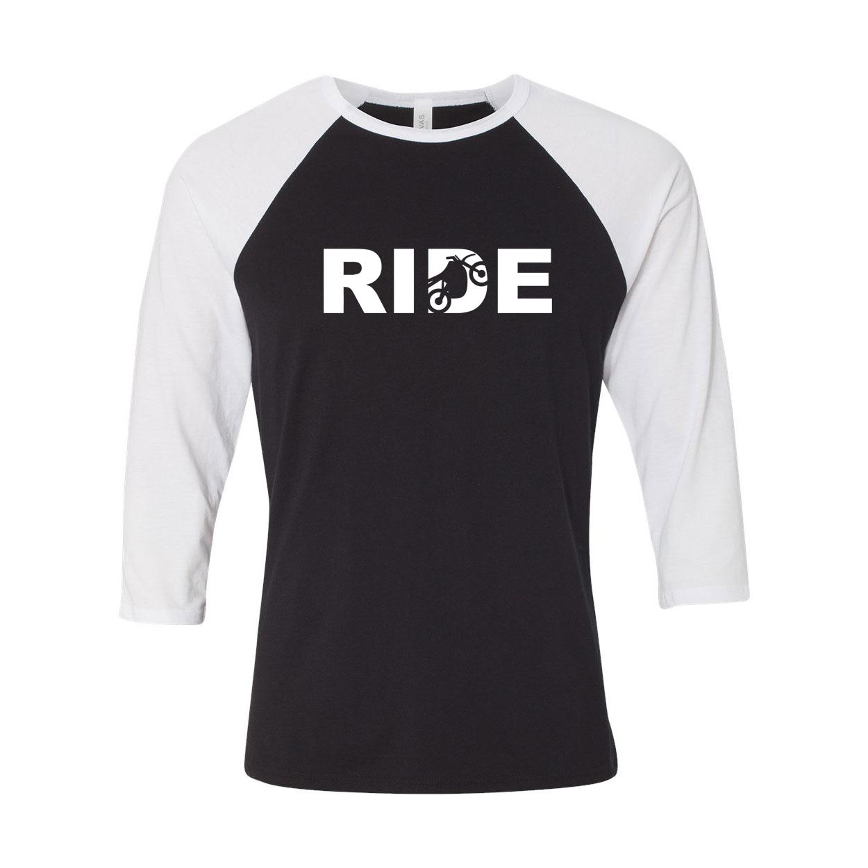 Ride Moto Logo Classic Raglan Shirt Black/White (White Logo)