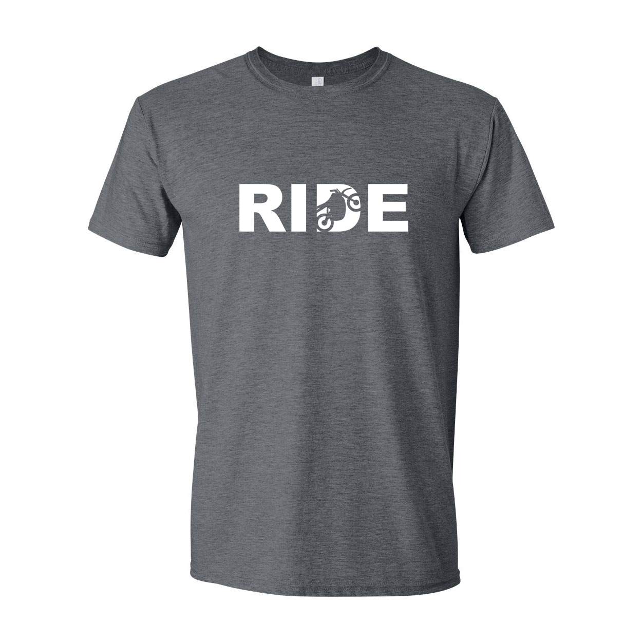 Ride Moto Logo Classic T-Shirt Dark Heather Gray (White Logo)