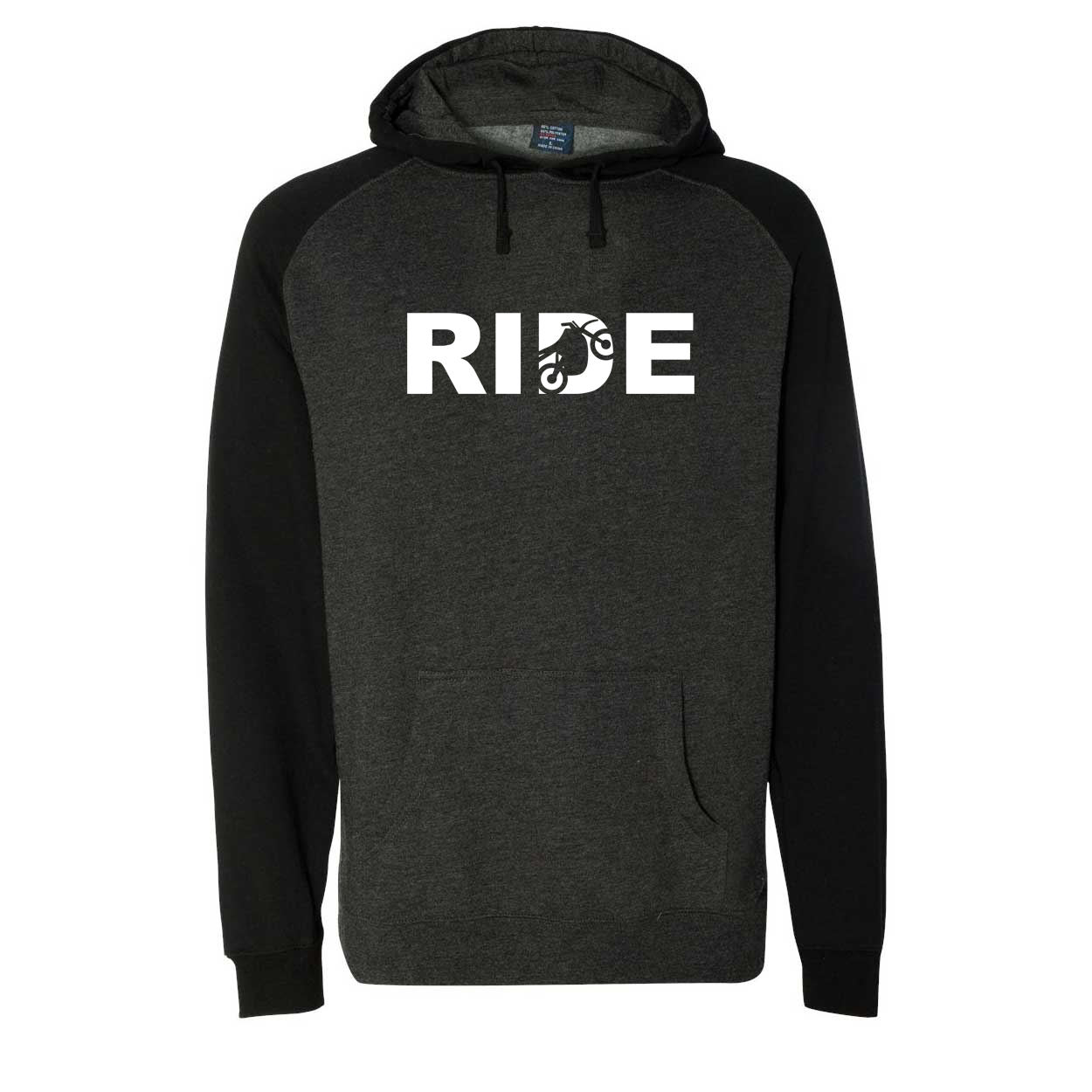 Ride Moto Logo Classic Raglan Hooded Pullover Sweatshirt Charcoal/Heather Black (White Logo)