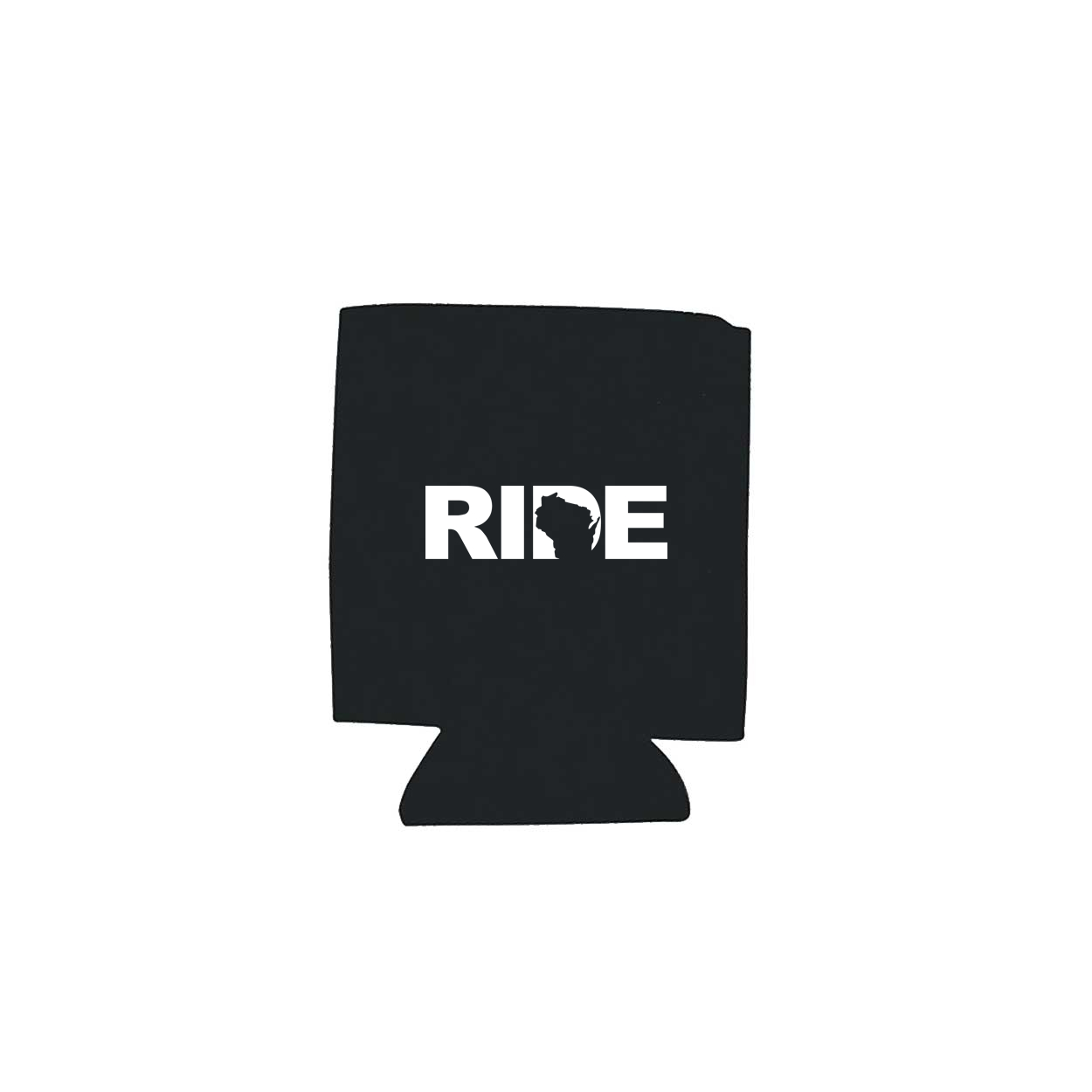 Ride Wisconsin Koozie Black (White Logo)