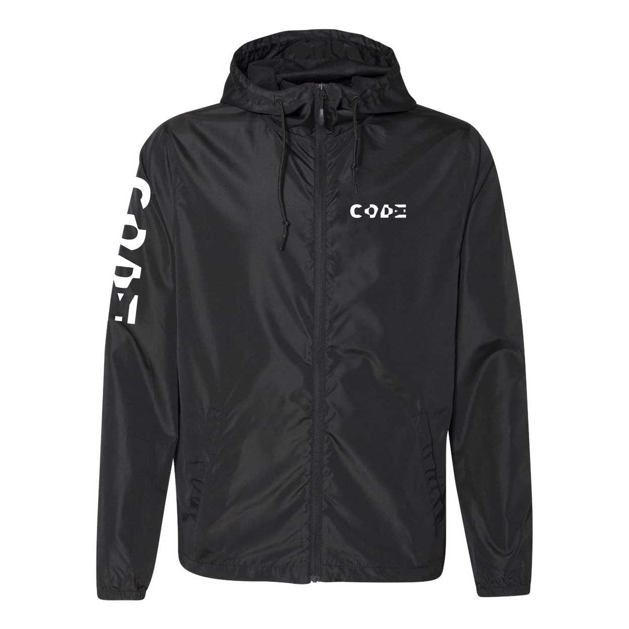 Code Tag Logo Classic Lightweight Windbreaker Black (White Logo)
