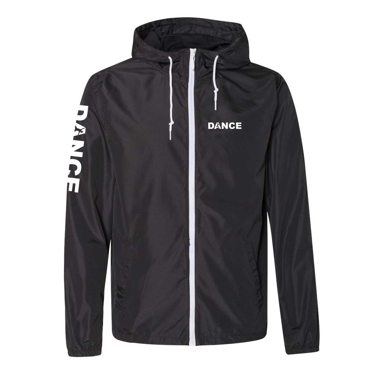 Dance Silhouette Logo Classic Lightweight Windbreaker Black/White (White Logo)