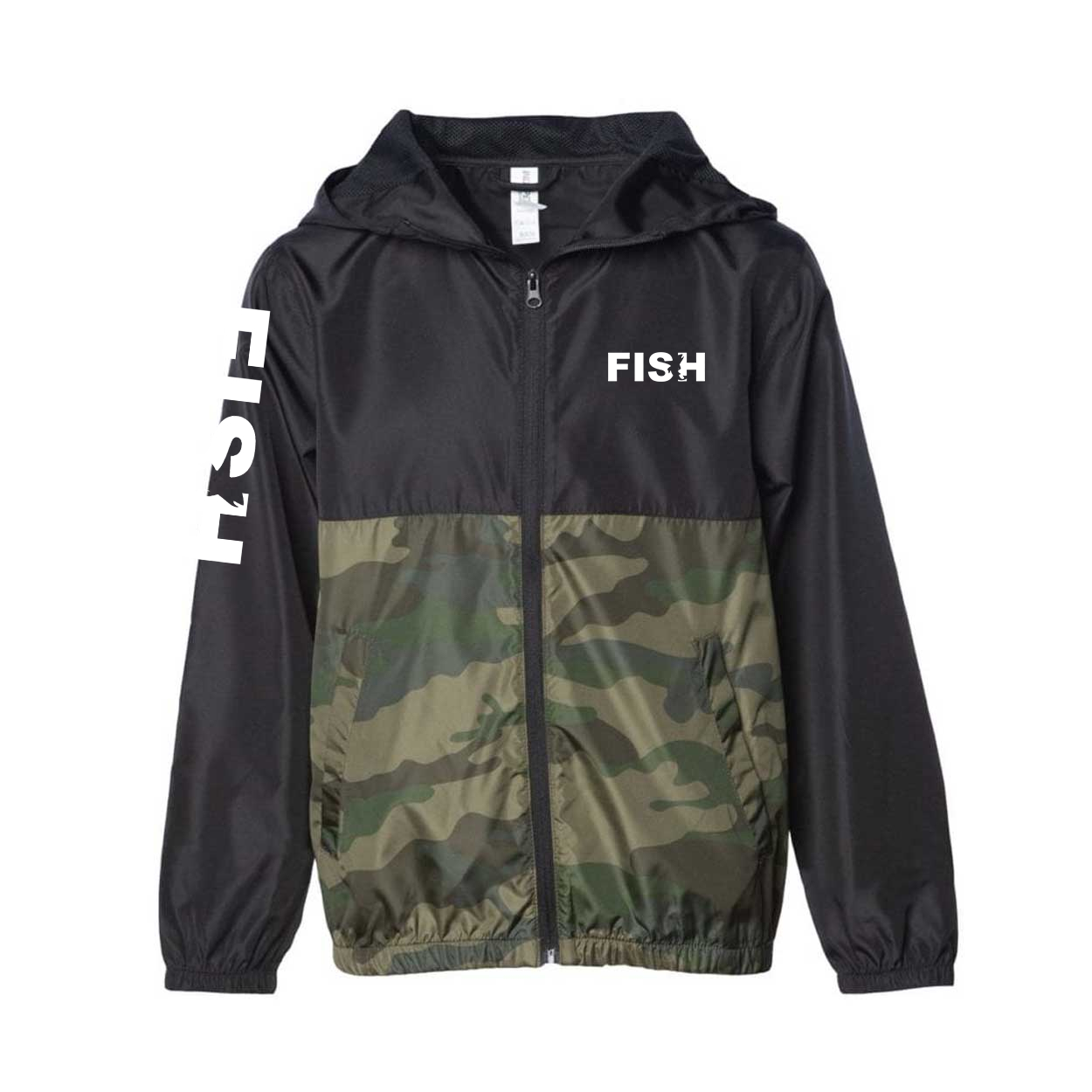 Fish Catch Logo Classic Youth Lightweight Windbreaker Black/Forest Camo (White Logo)