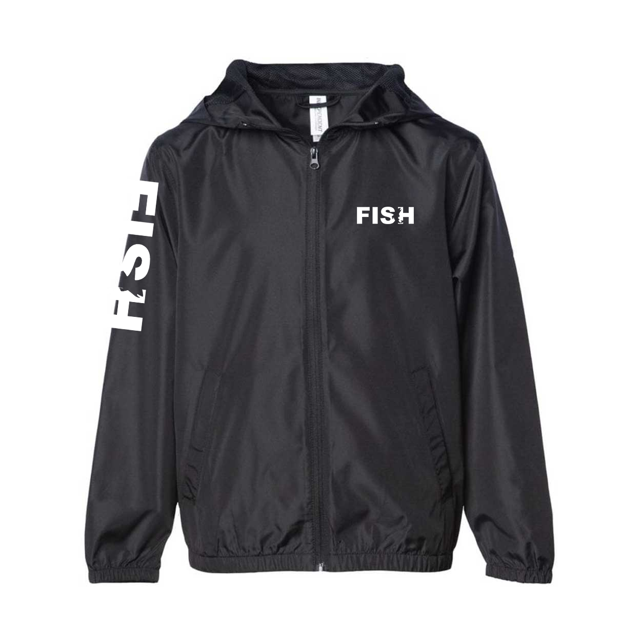 Fish Catch Logo Classic Youth Lightweight Windbreaker Black (White Logo)