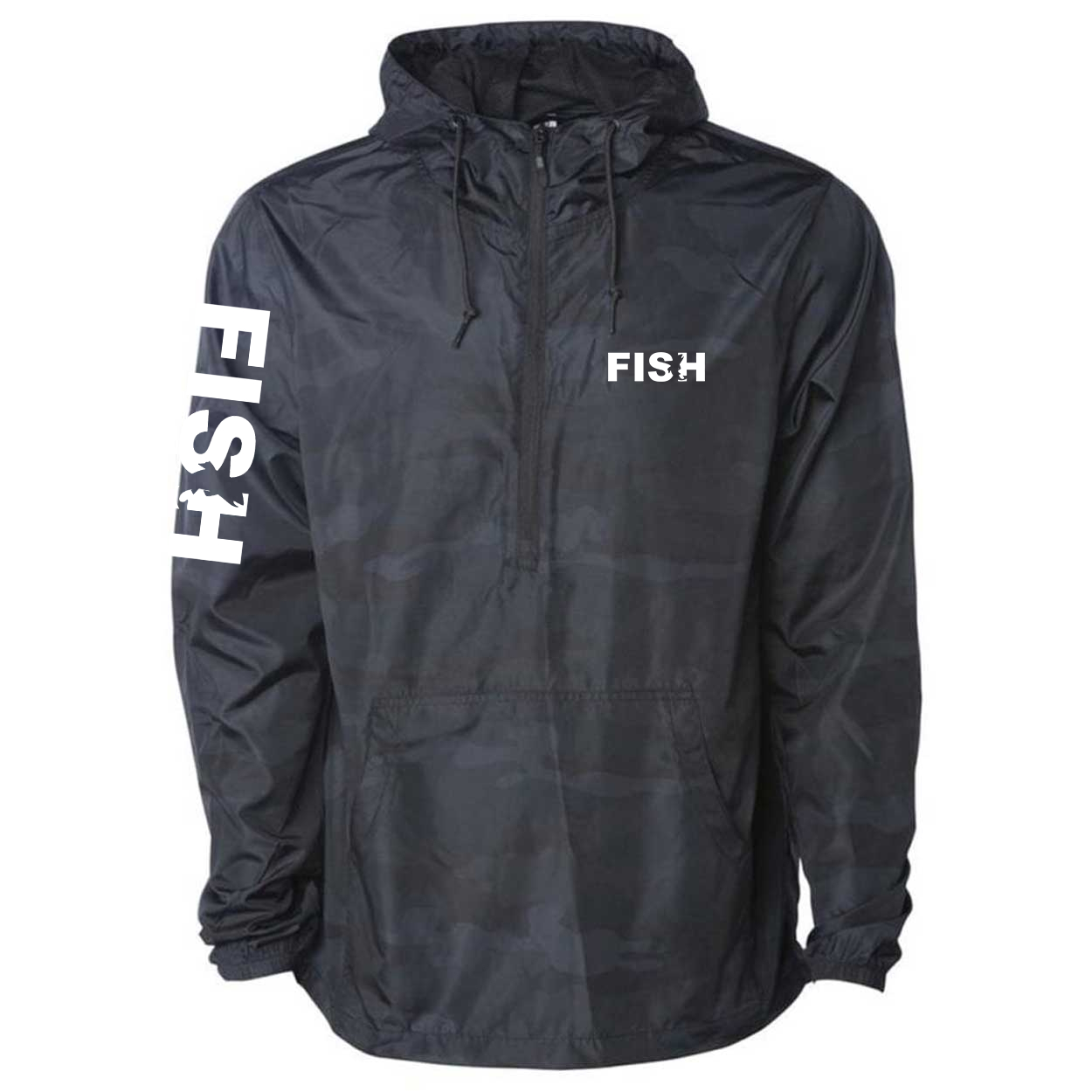 Fish Catch Logo Classic Lightweight Pullover Windbreaker Black Camo (White Logo)