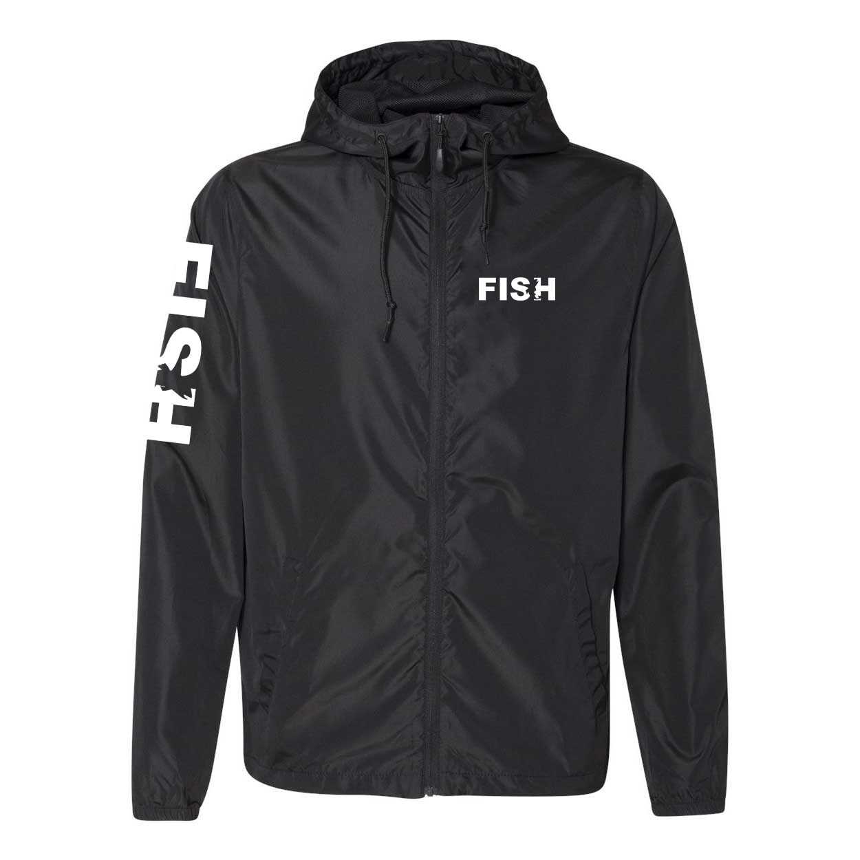 Fish Catch Logo Classic Lightweight Windbreaker Black (White Logo)