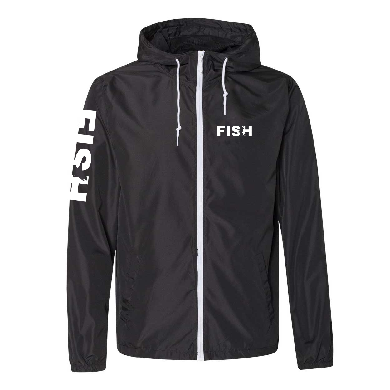 Fish Catch Logo Classic Lightweight Windbreaker Black/White (White Logo)