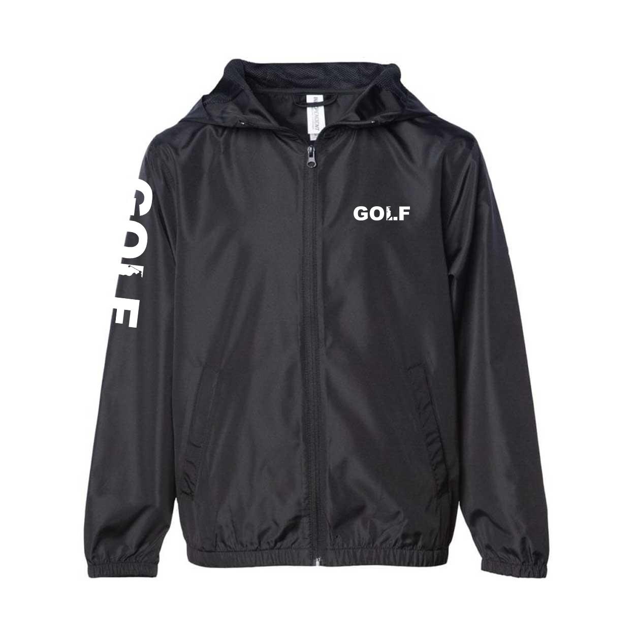 Golf Swing Logo Classic Youth Lightweight Windbreaker Black (White Logo)