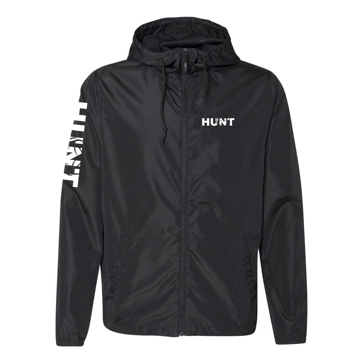 Hunt Rack Logo Classic Lightweight Windbreaker Black (White Logo)