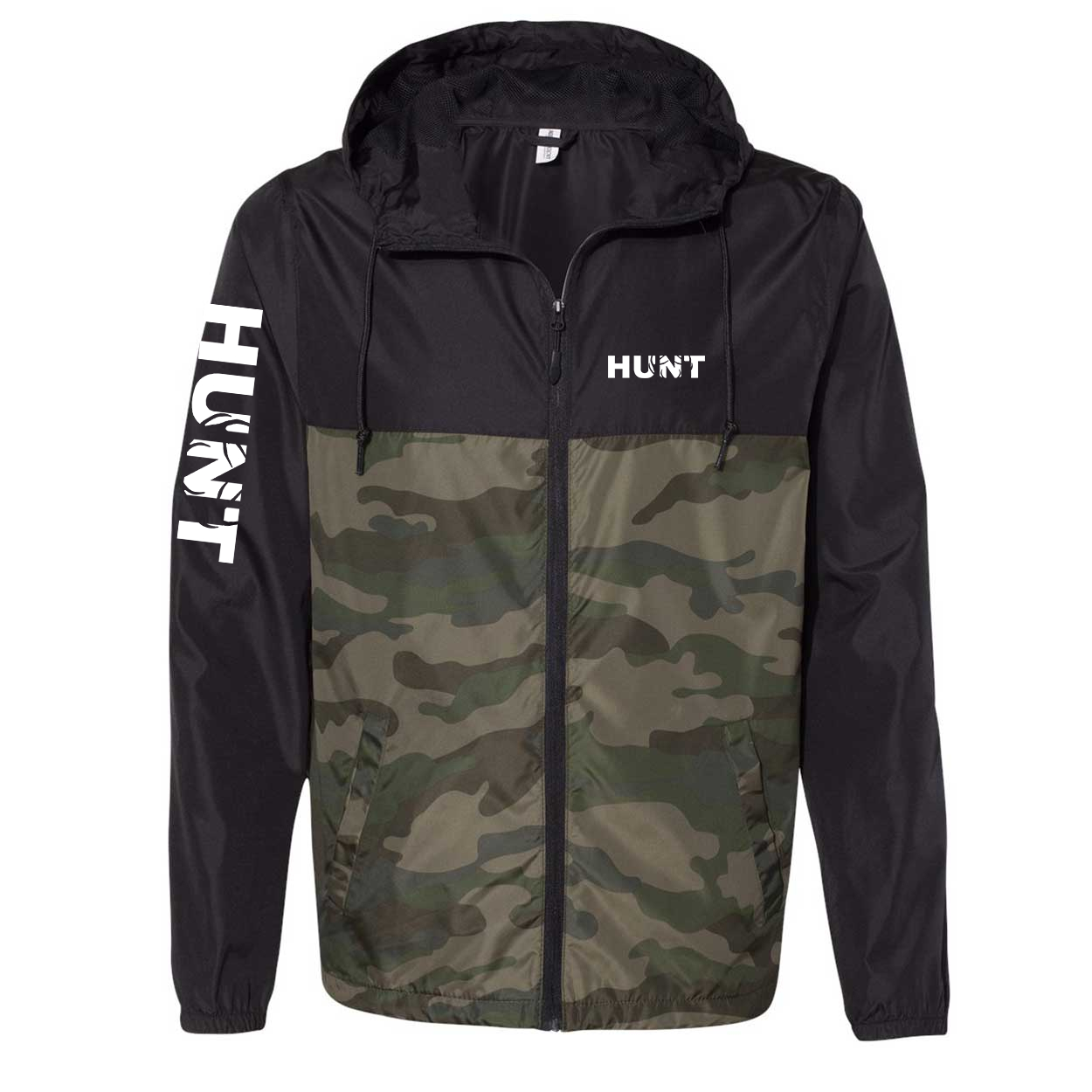 Hunt Rack Logo Classic Lightweight Windbreaker Black/Forest Camo (White Logo)