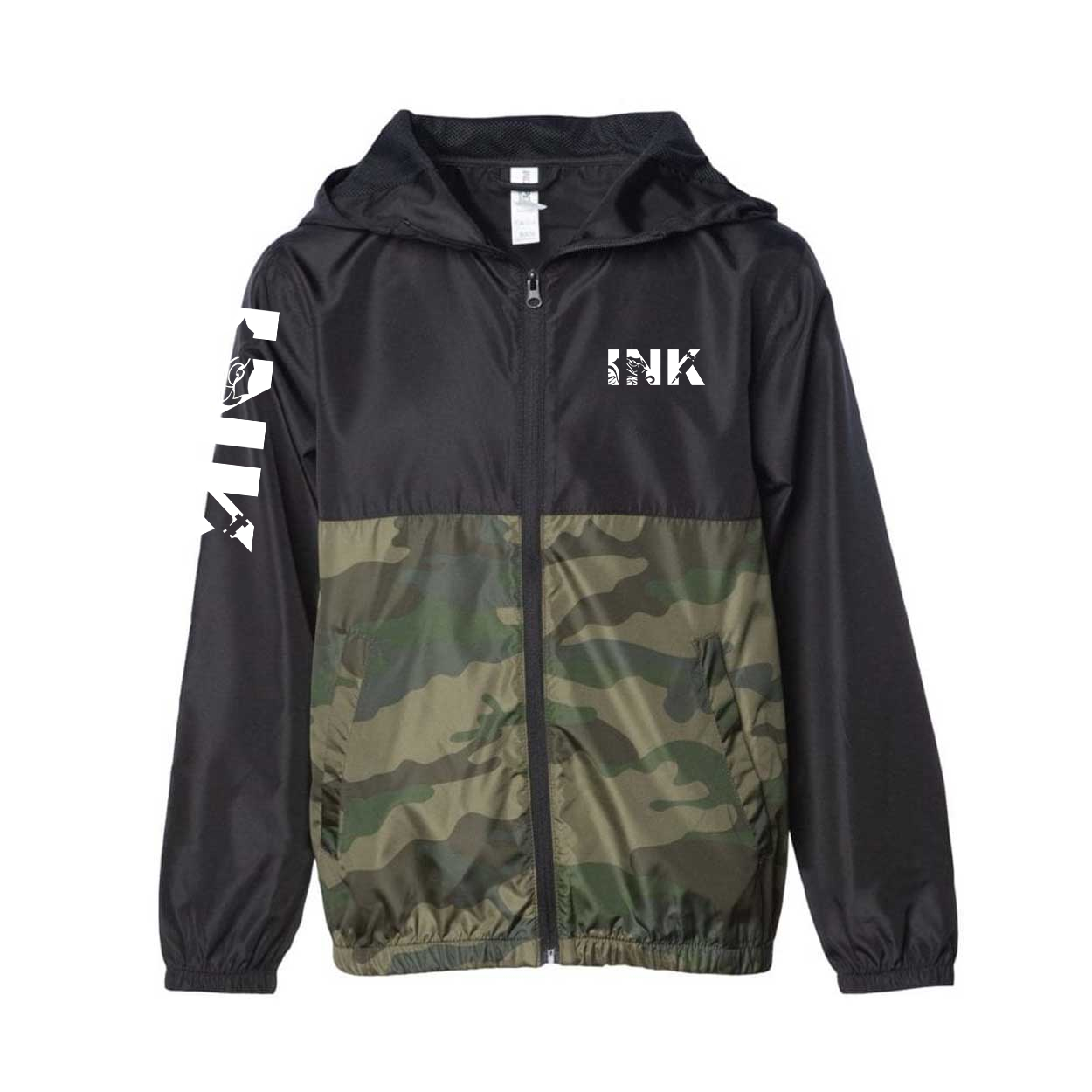 Ink Tattoo Logo Classic Youth Lightweight Windbreaker Black/Forest Camo (White Logo)