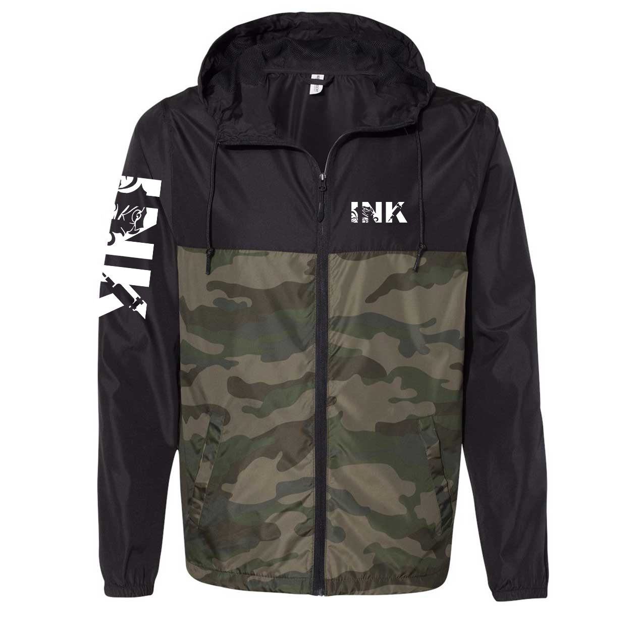 Ink Tattoo Logo Classic Lightweight Windbreaker Black/Forest Camo (White Logo)