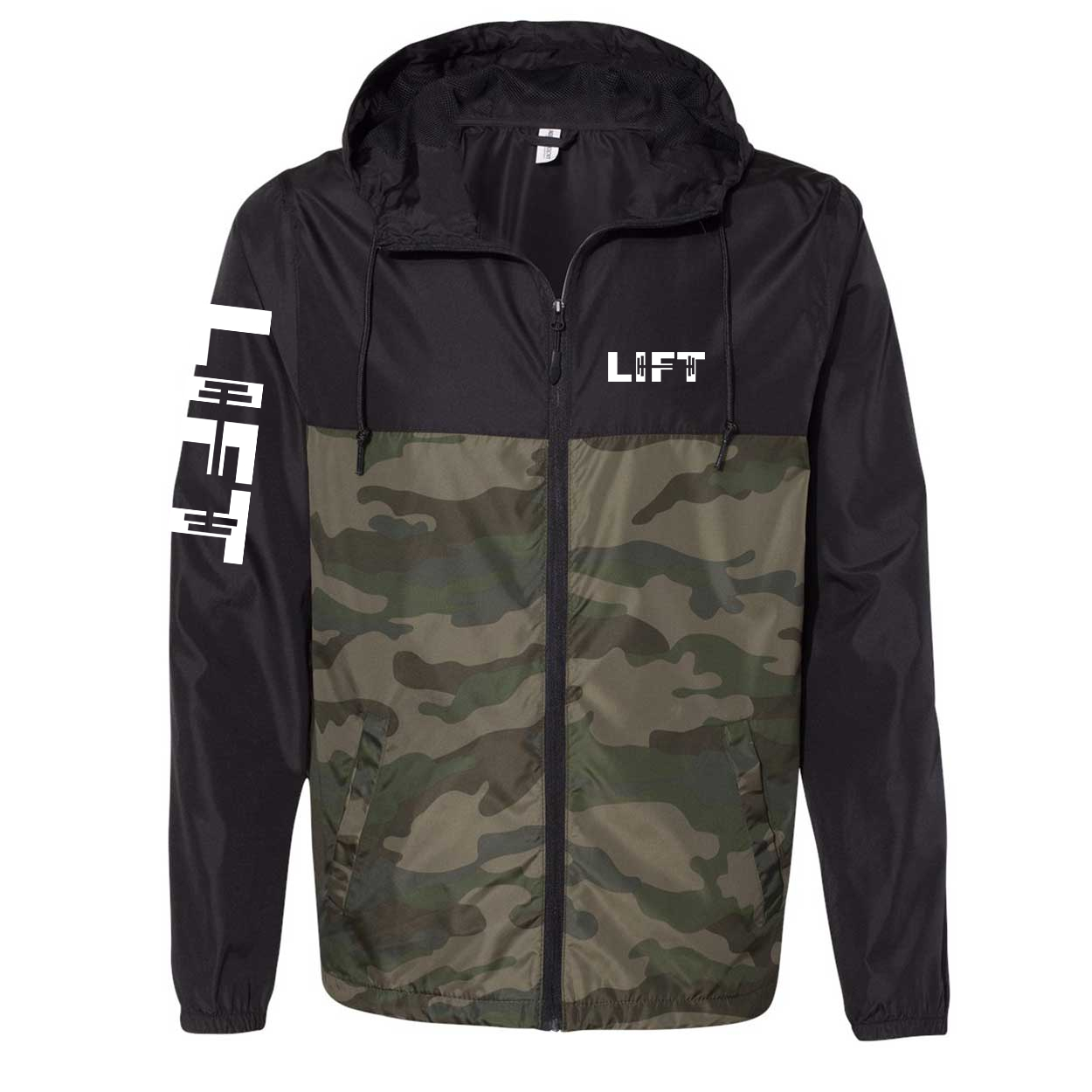 Lift Barbell Logo Classic Lightweight Windbreaker Black/Forest Camo (White Logo)