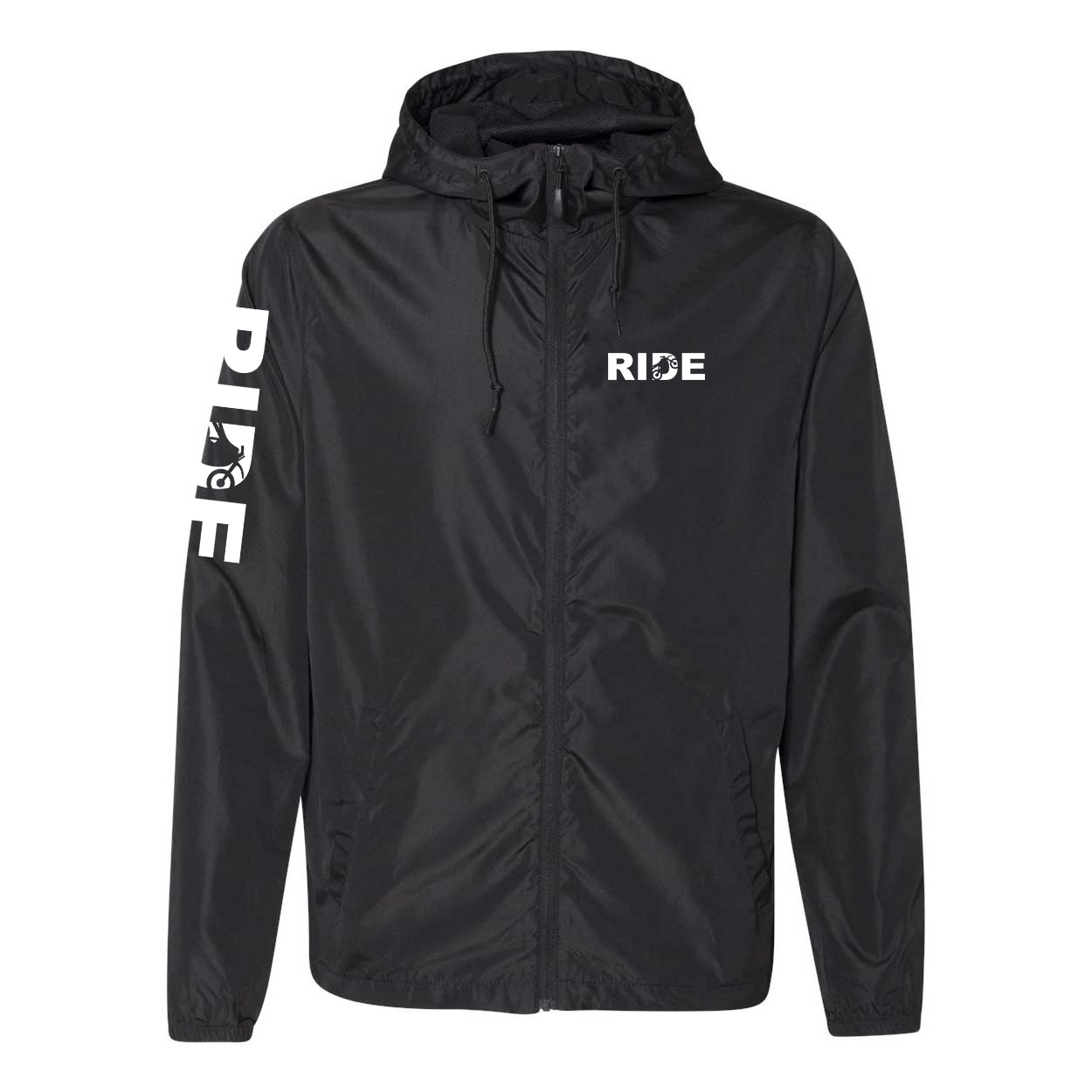Ride Moto Logo Classic Lightweight Windbreaker Black (White Logo)