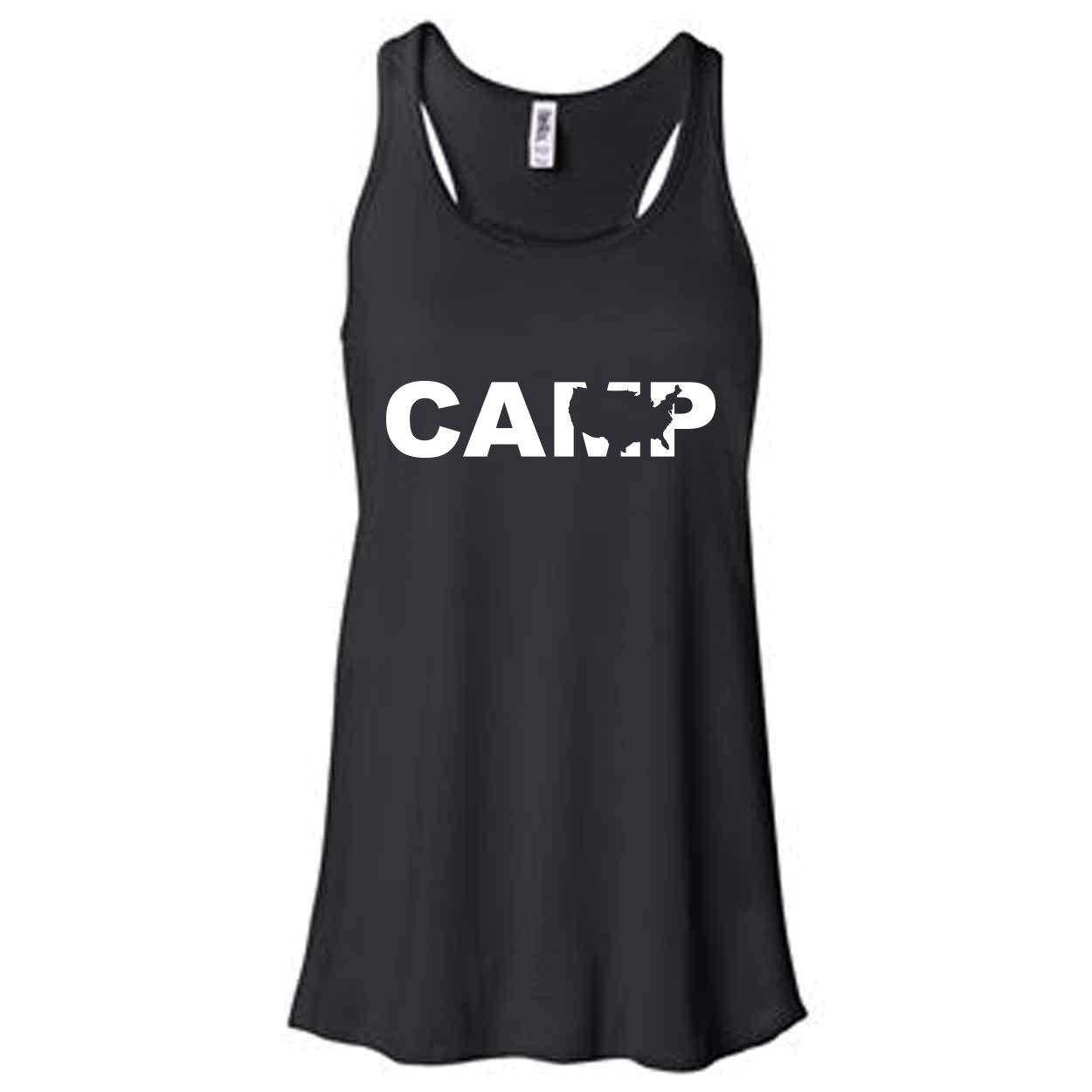 Camp United States Classic Women's Flowy Racerback Tank Top Black (White Logo)