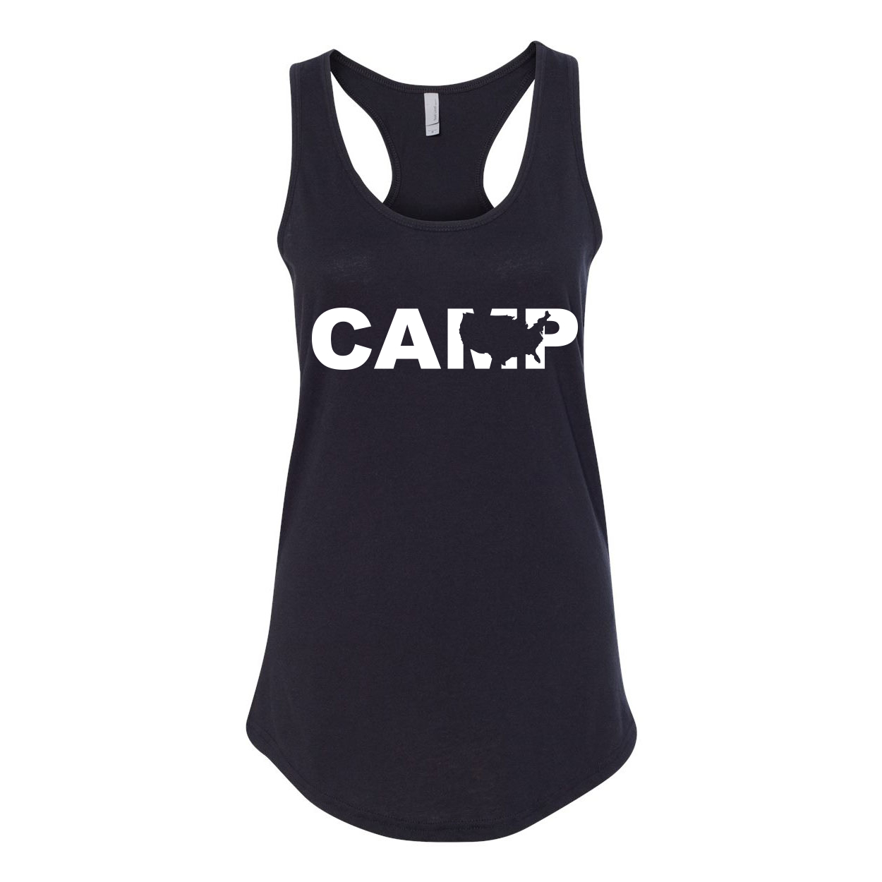 Camp United States Classic Women's Racerback Tank Top Black (White Logo)