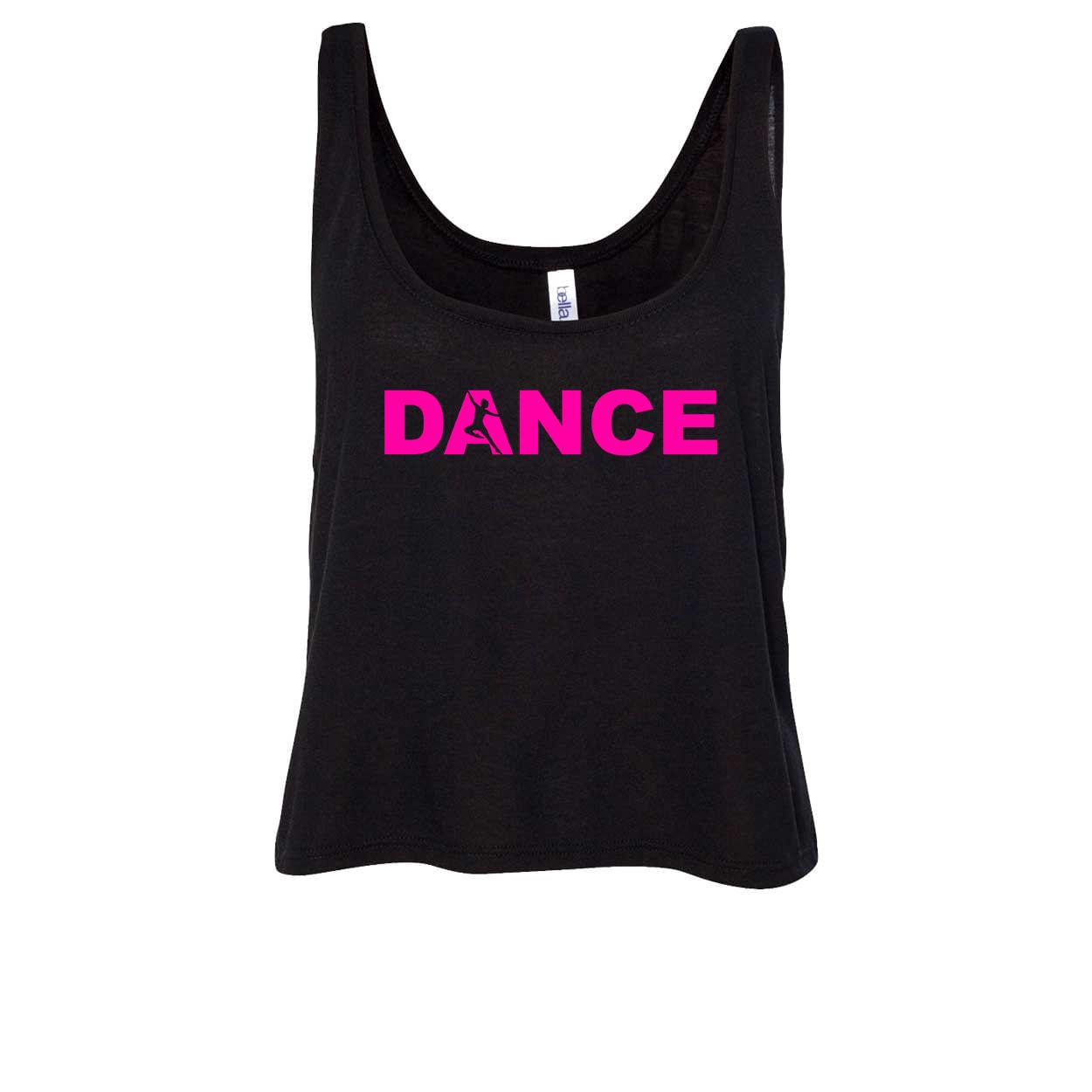 Dance Silhouette Logo Classic Womens Flowy Semi Cropped Tank Black (Pink Logo)