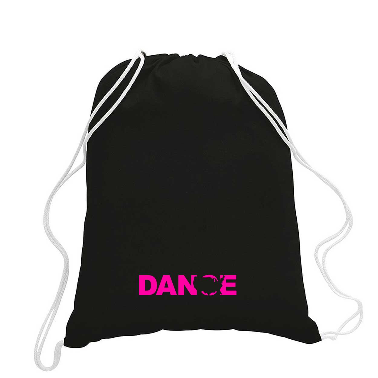 Dance United States Classic Drawstring Sport Pack Bag/Cinch Sack Black (Pink Logo)