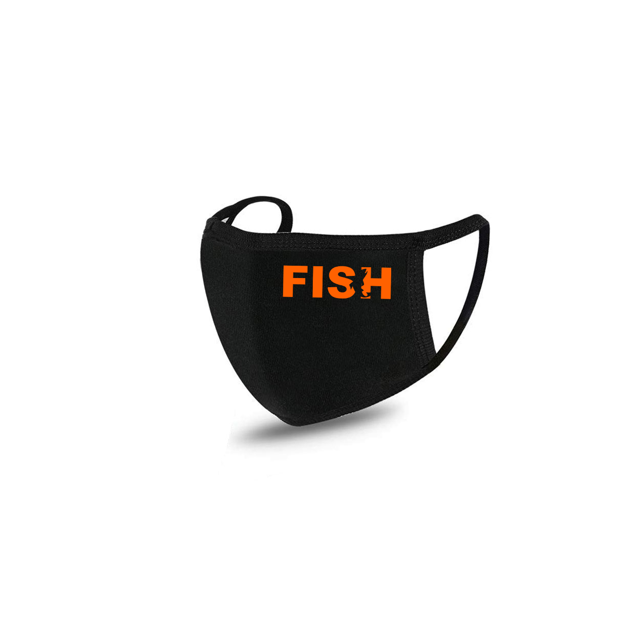 Fish Catch Logo Standard Washable Face Mask Black (Orange Logo)