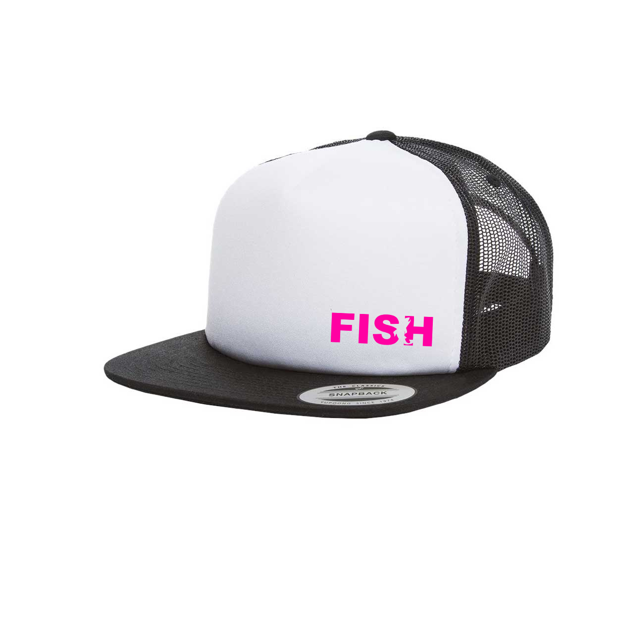 Fish Catch Logo Night Out Premium Foam Flat Brim Snapback Hat Black/White (Pink Logo)