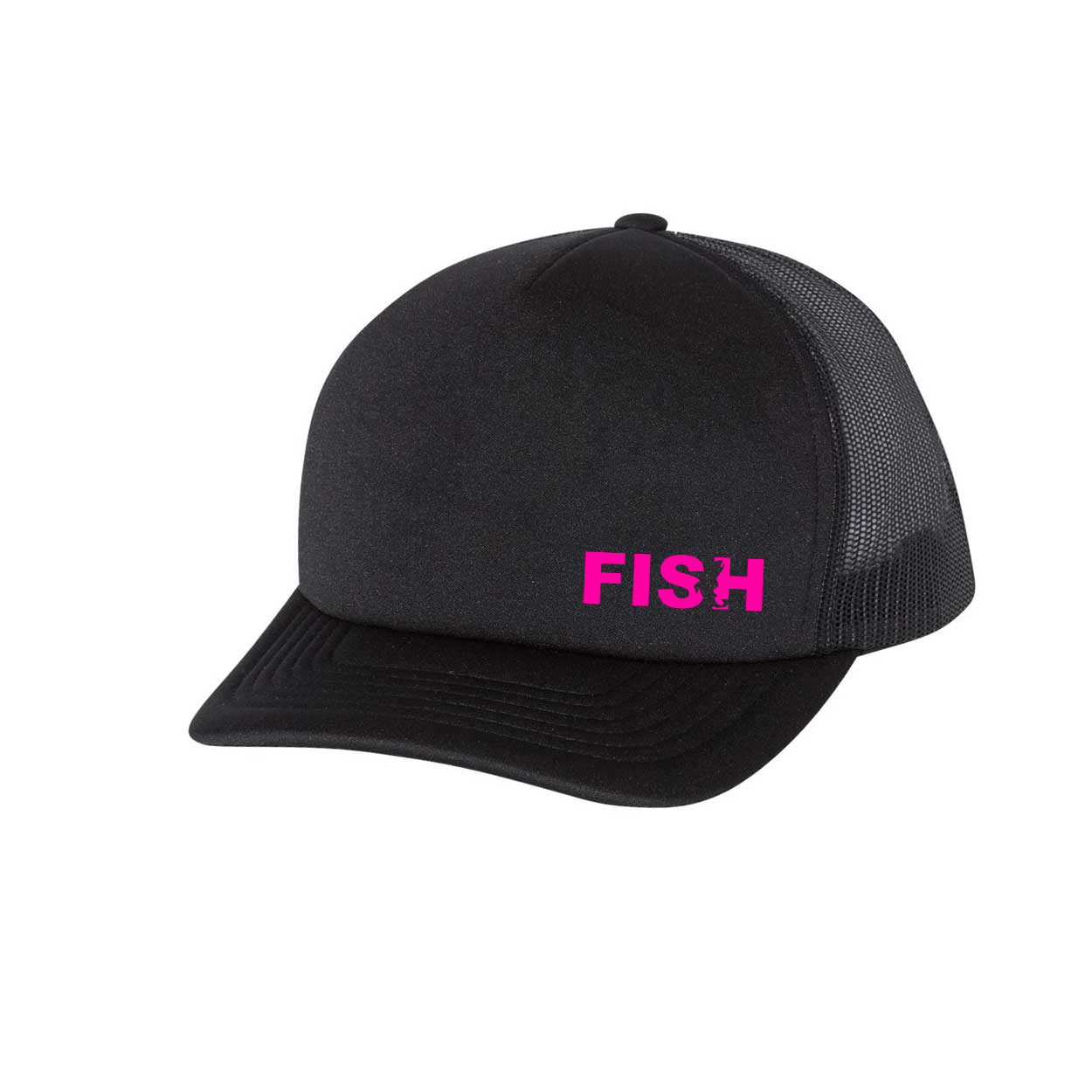 Fish Catch Logo Night Out Premium Foam Trucker Snapback Hat Black (Pink Logo)