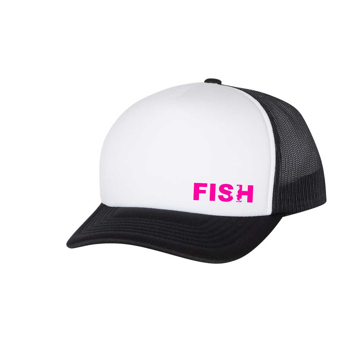Fish Catch Logo Night Out Premium Foam Trucker Snapback Hat Black/White (Pink Logo)