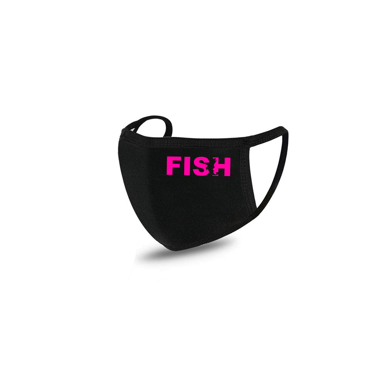 Fish Catch Logo Standard Washable Face Mask Black (Pink Logo)