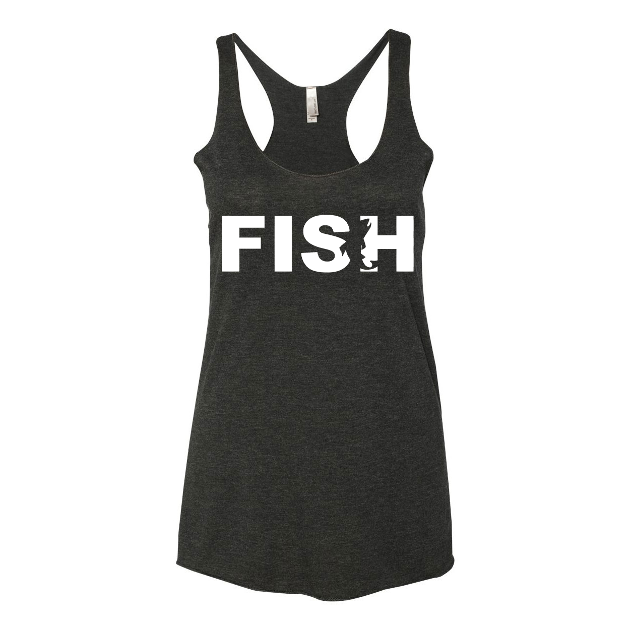 Fish Catch Logo Classic Women's Ultra Thin Tank Top Black (White Logo)
