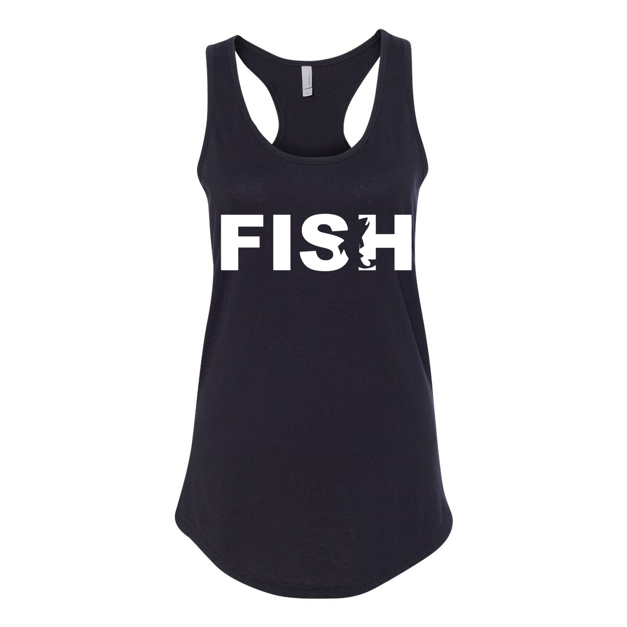 Fish Catch Logo Classic Women's Racerback Tank Top Black (White Logo)