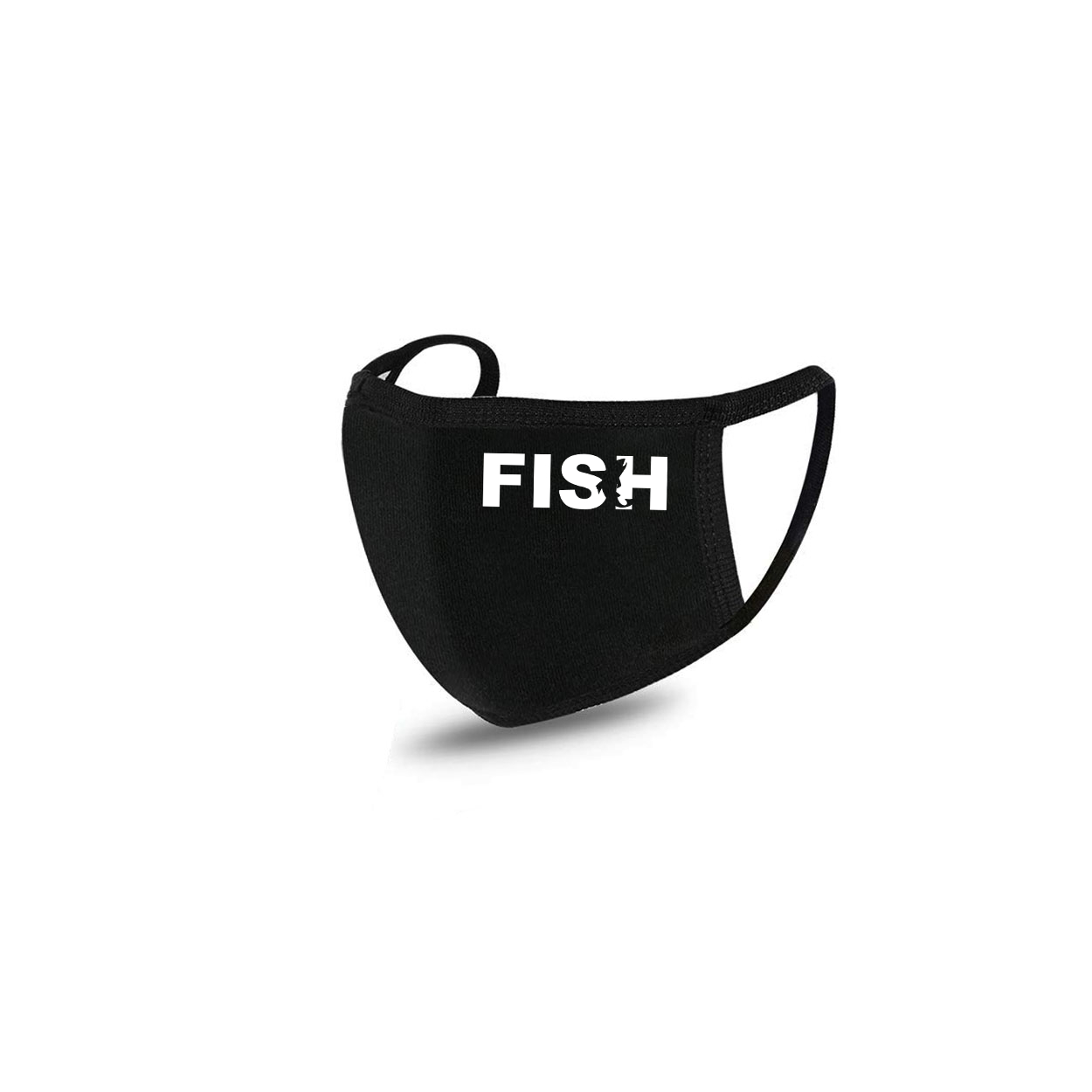 Fish Catch Logo Standard Washable Face Mask Black (White Logo)
