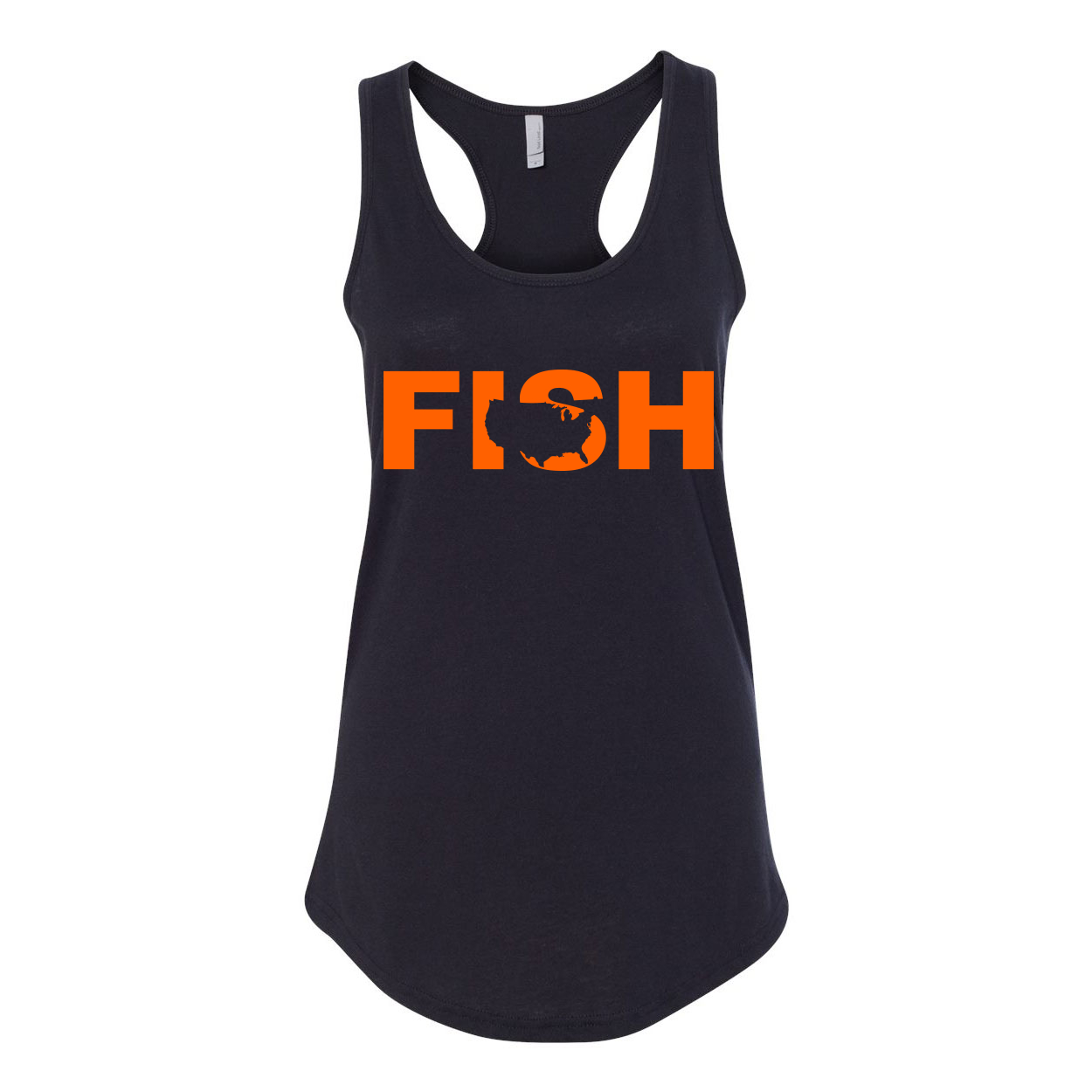 Fish United States Classic Women's Racerback Tank Top Black (Orange Logo)