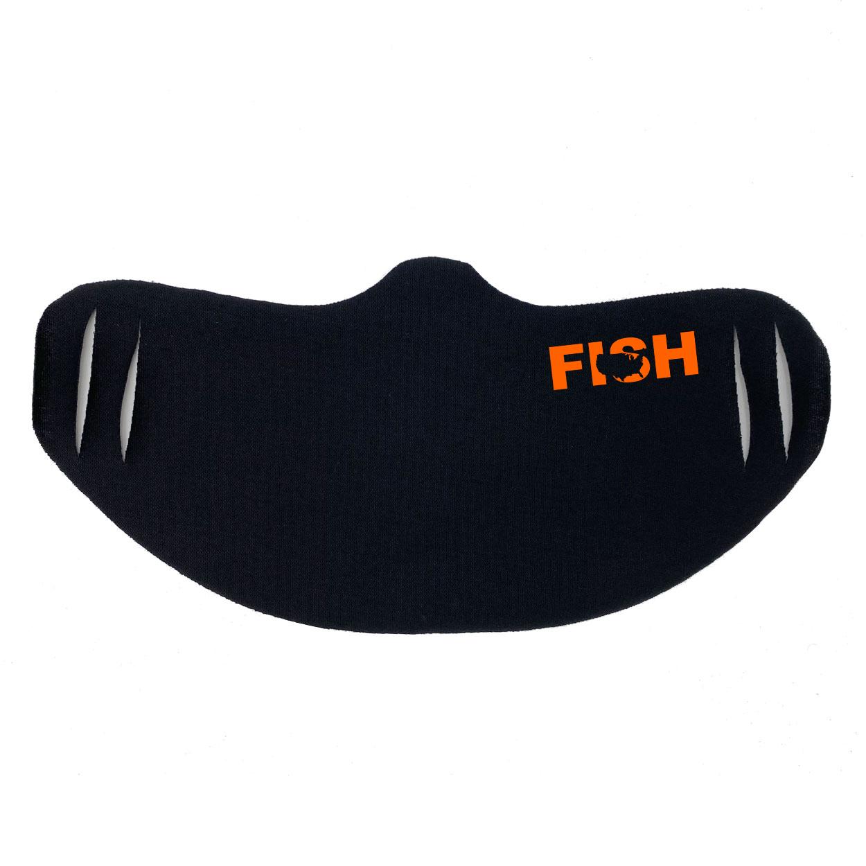 Fish United States Ultra Lightweight Face Mask Cover Black (Orange Logo)