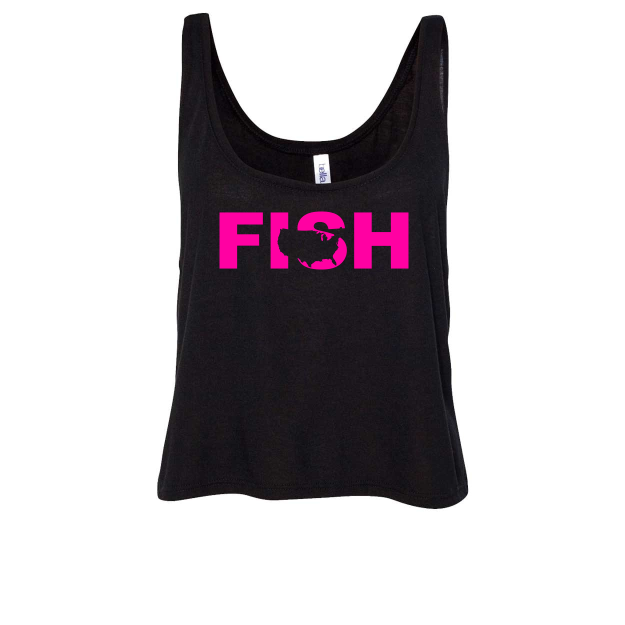 Fish United States Classic Womens Flowy Semi Cropped Tank Black (Pink Logo)