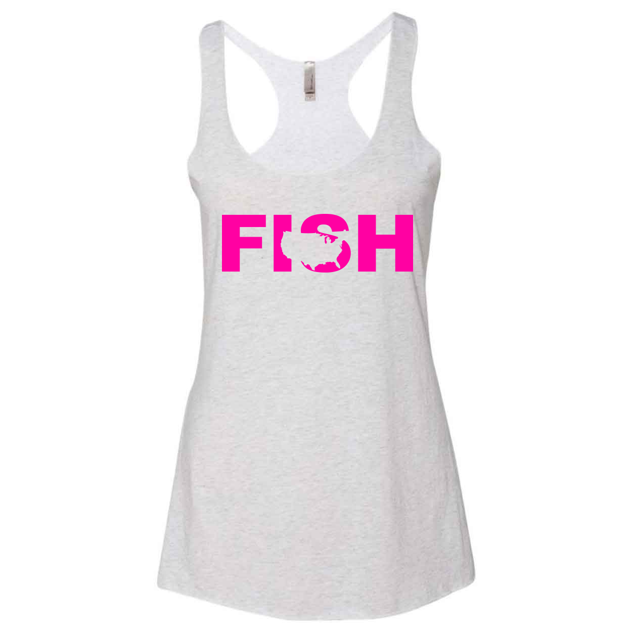 Fish United States Classic Women's Ultra Thin Tank Top Heather White (Pink Logo)