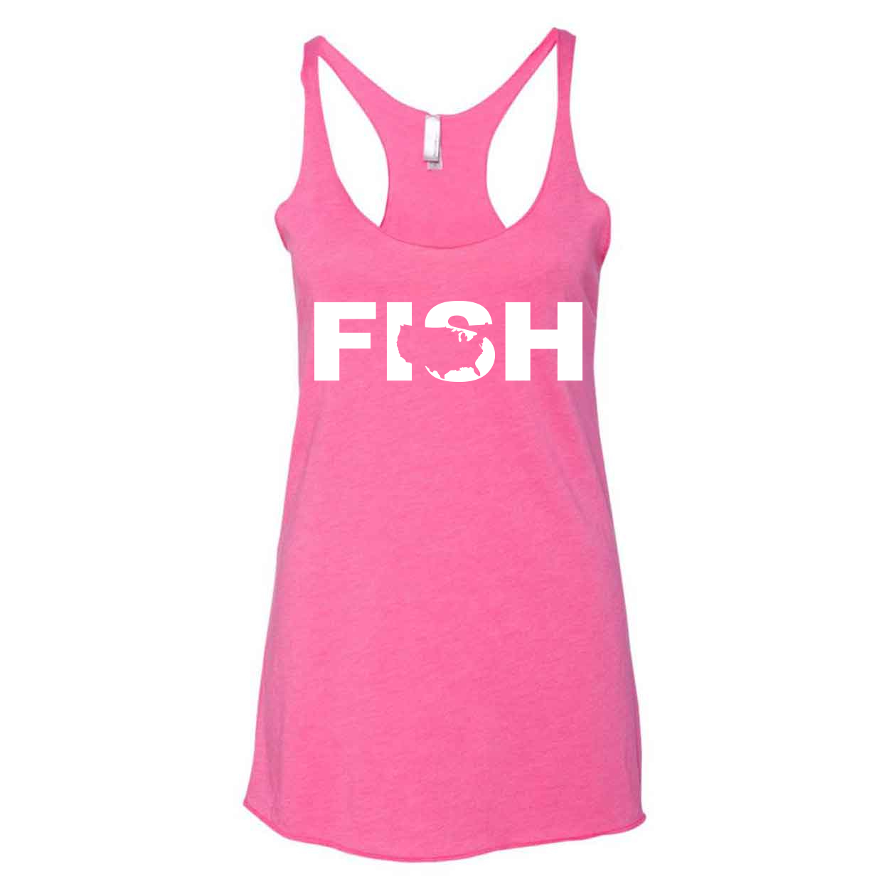 Fish United States Classic Women's Ultra Thin Tank Top Vintage Pink (White Logo)