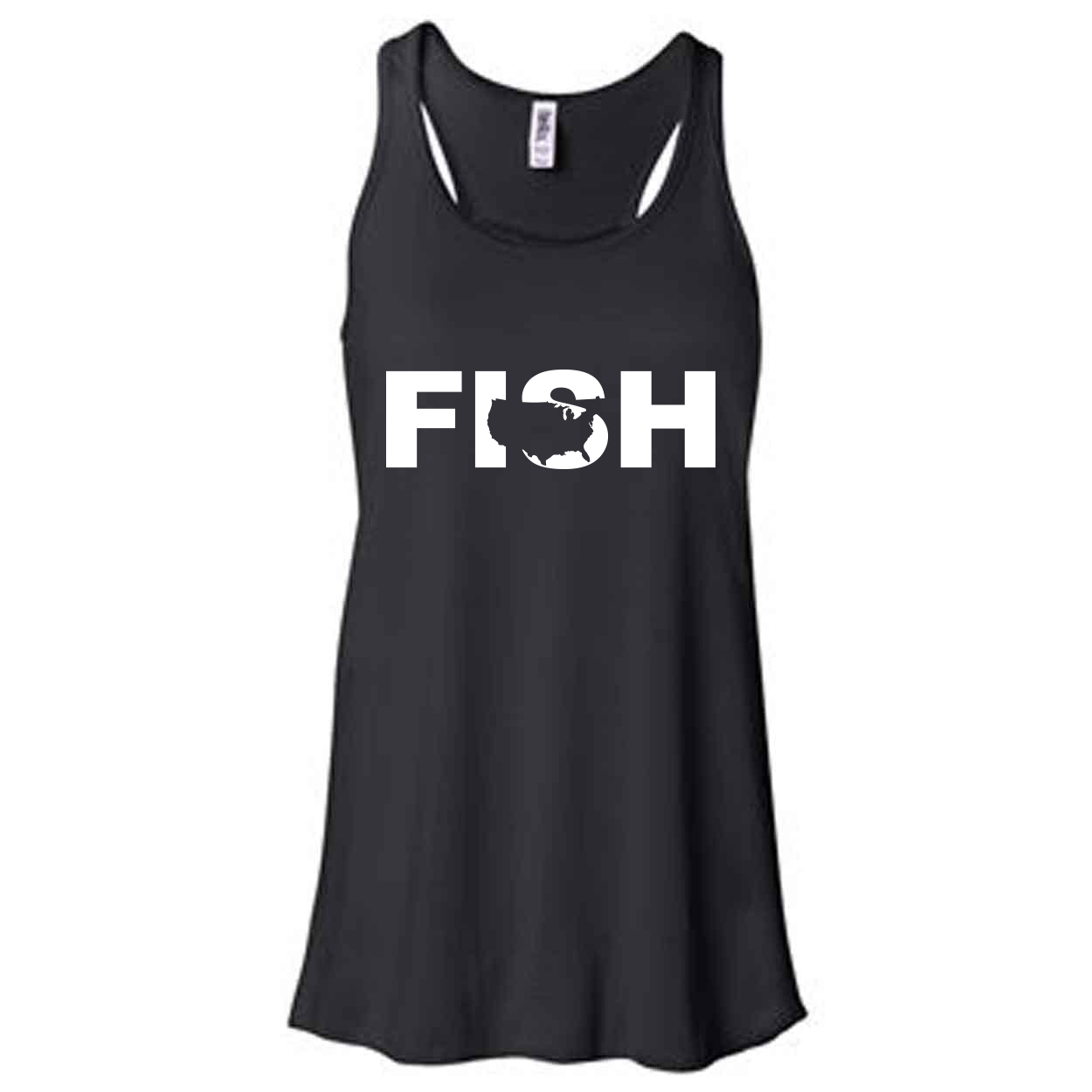 Fish United States Classic Women's Flowy Racerback Tank Top Black (White Logo)