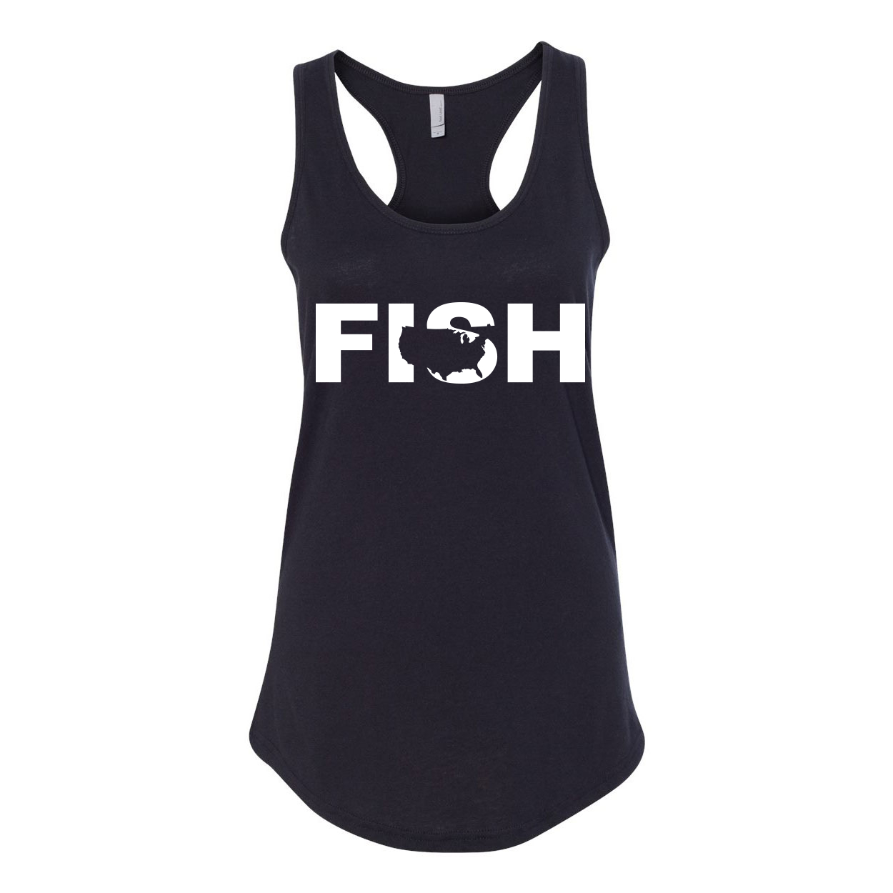 Fish United States Classic Women's Racerback Tank Top Black (White Logo)