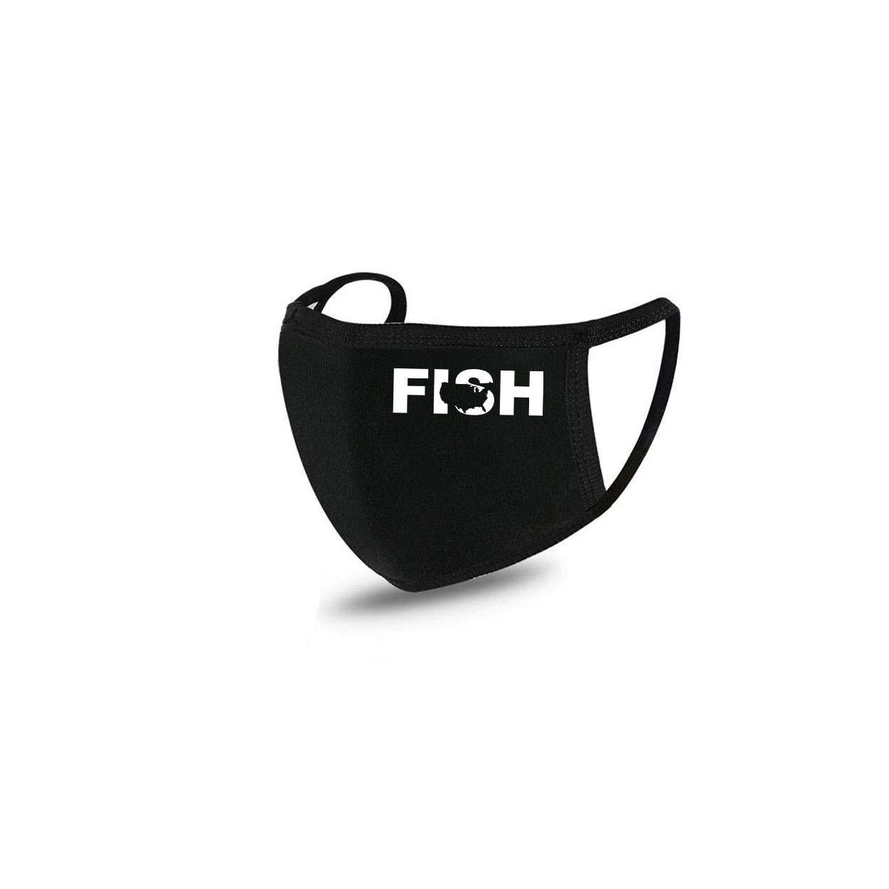 Fish United States Standard Washable Face Mask Black (White Logo)