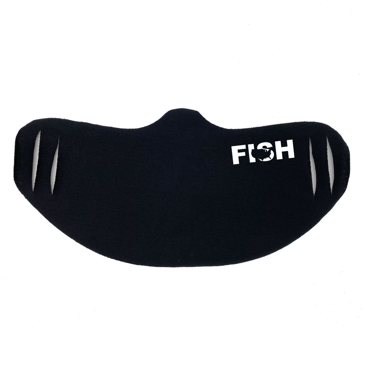 Fish United States Ultra Lightweight Face Mask Cover Black (White Logo)