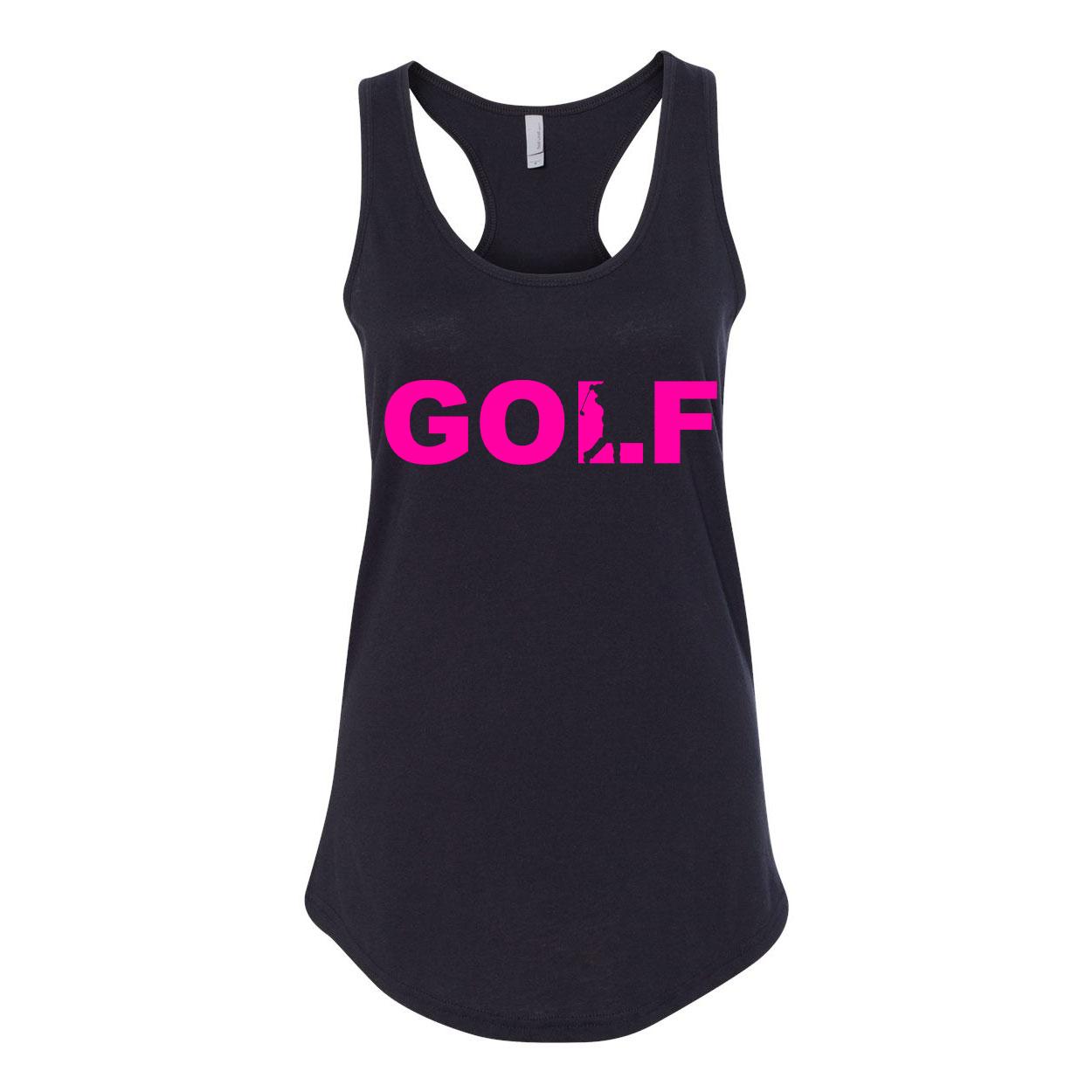 Golf Swing Logo Classic Women's Racerback Tank Top Black (Pink Logo)