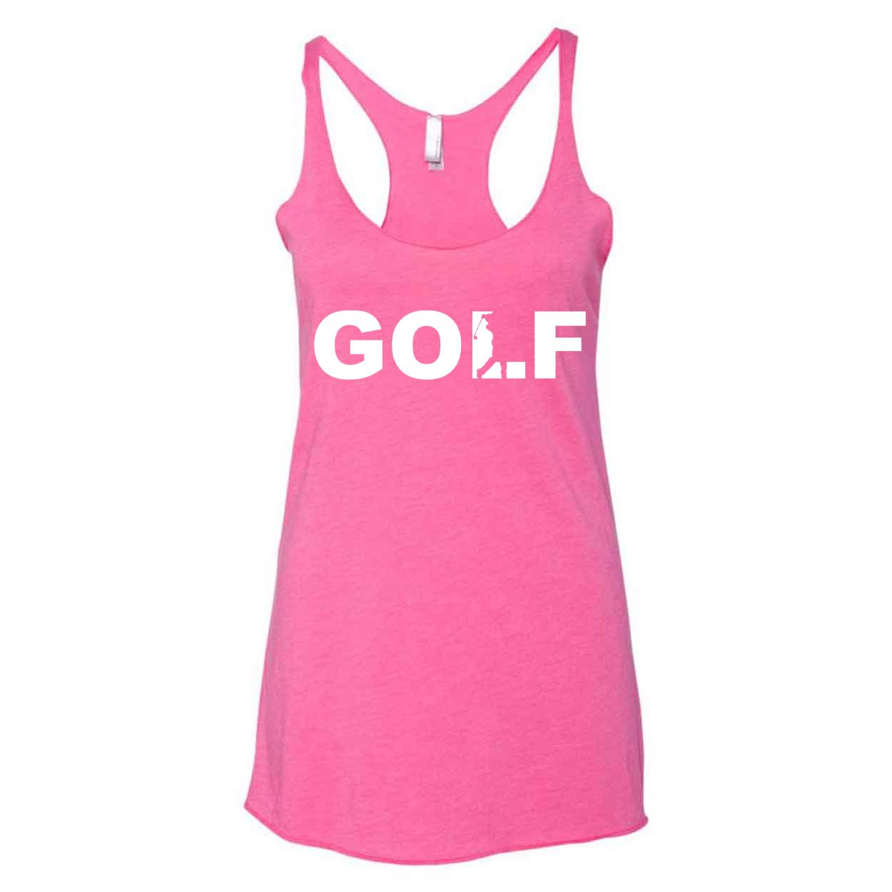 Golf Swing Logo Classic Women's Ultra Thin Tank Top Vintage Pink (White Logo)