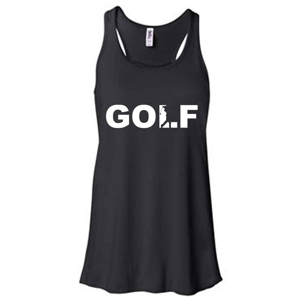 Golf Swing Logo Classic Women's Flowy Racerback Tank Top Black (White Logo)