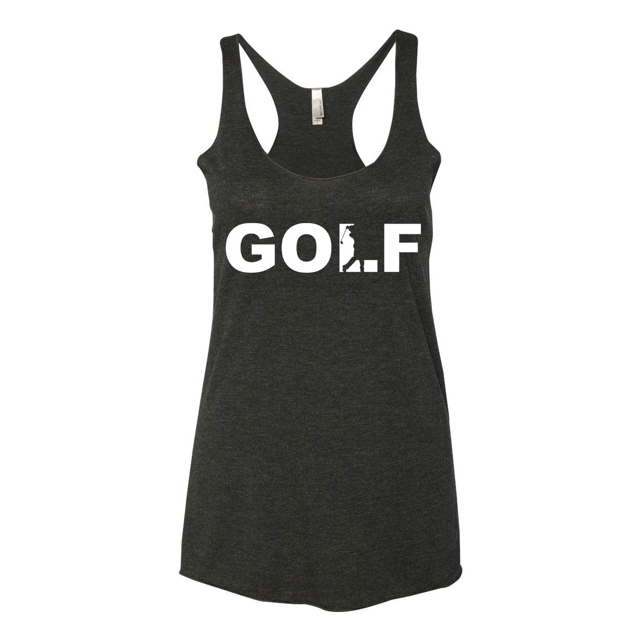 Golf Swing Logo Classic Women's Ultra Thin Tank Top Black (White Logo)