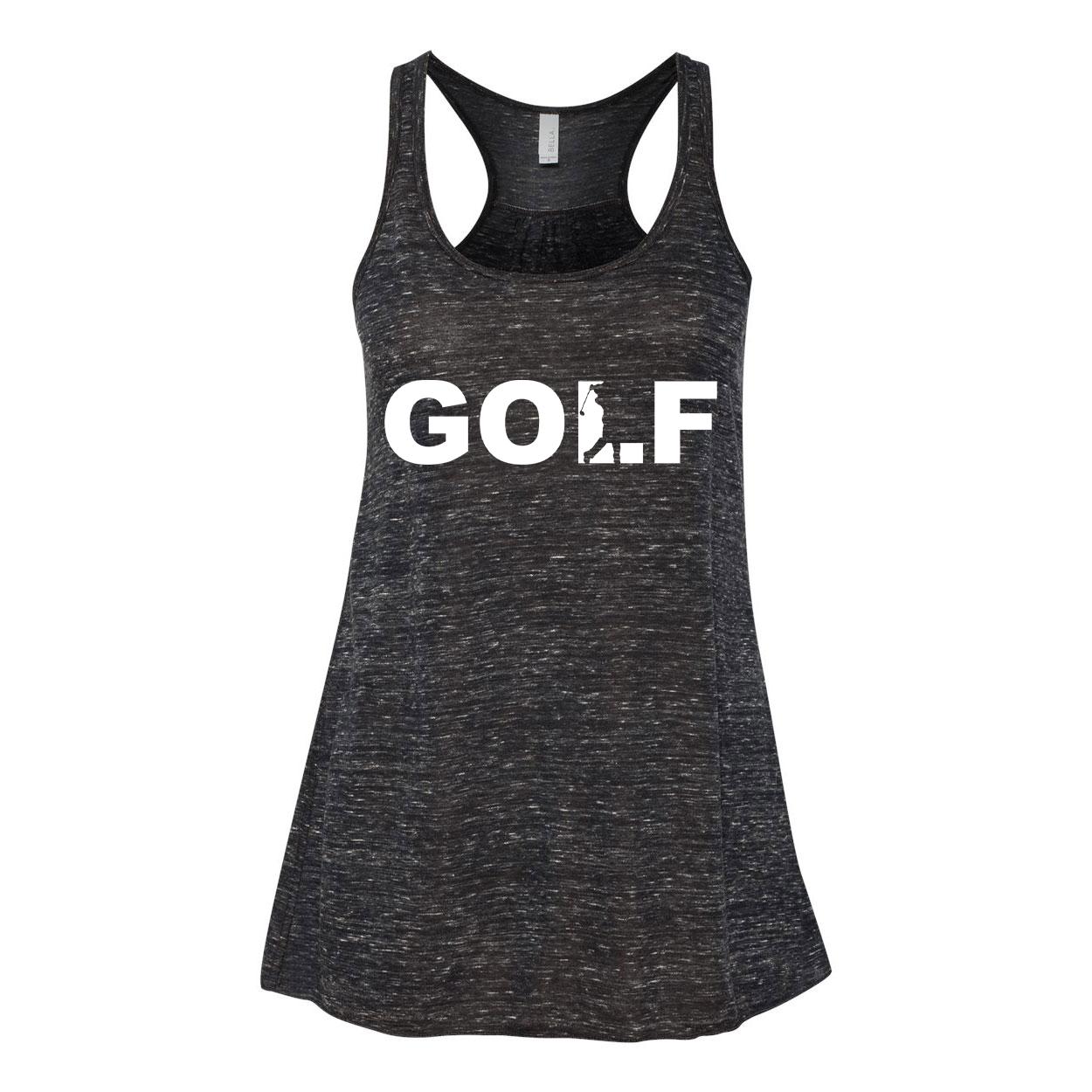 Golf Swing Logo Classic Women's Flowy Racerback Tank Top Black Marble (White Logo)