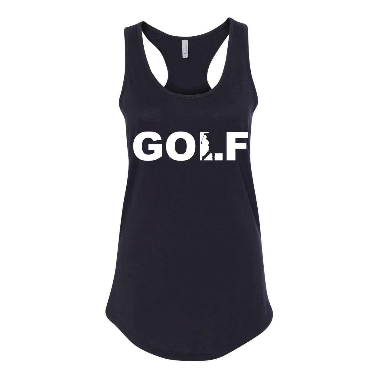 Golf Swing Logo Classic Women's Racerback Tank Top Black (White Logo)