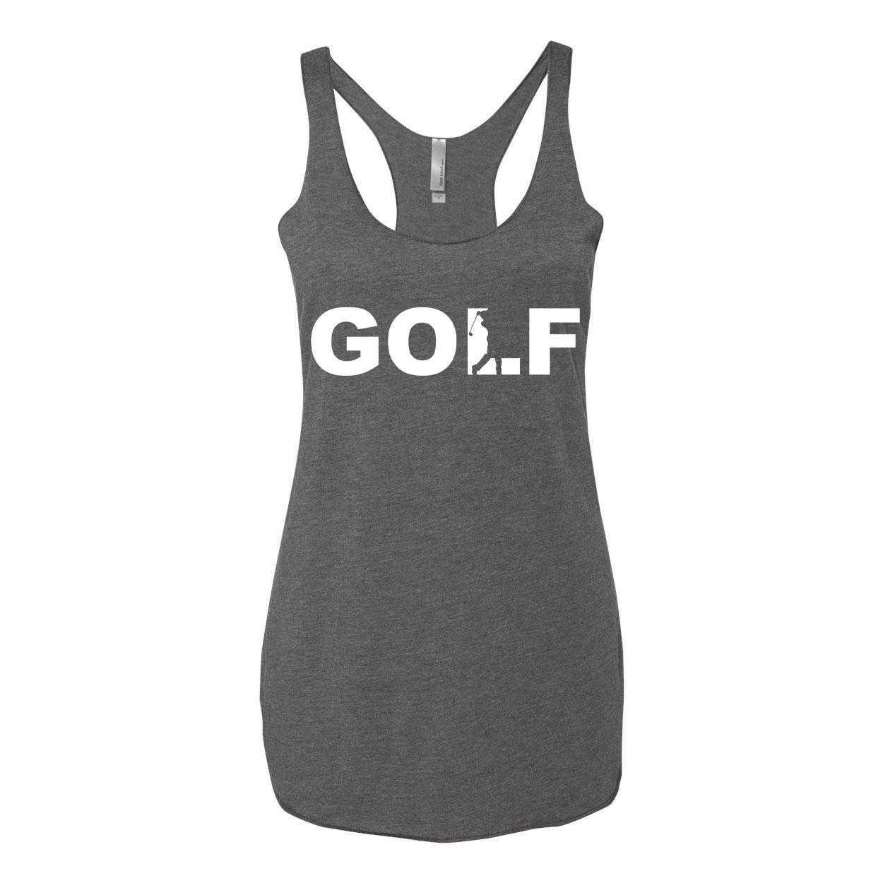 Golf Swing Logo Classic Women's Ultra Thin Tank Top Premium Heather Gray (White Logo)