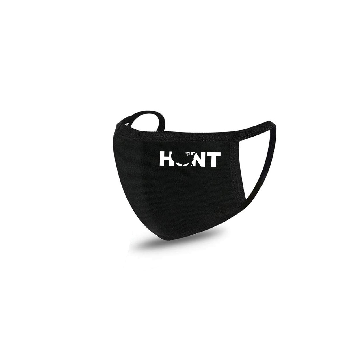 Hunt United States Standard Washable Face Mask Black (White Logo)