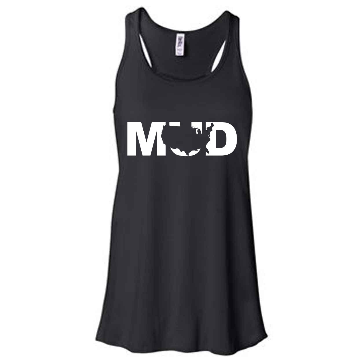 Mud United States Classic Women's Flowy Racerback Tank Top Black (White Logo)