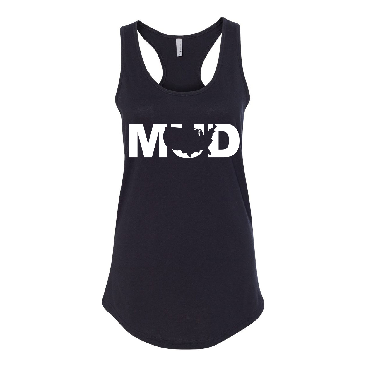 Mud United States Classic Women's Racerback Tank Top Black (White Logo)